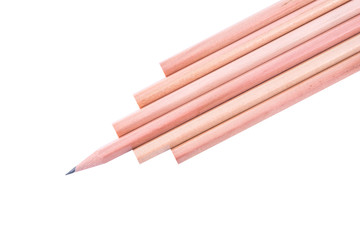 Wooden pencils isolated on white background