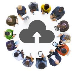 Multiethnic Group of People Cloud Computing