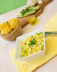 Italian pasta- tagliatelle with zucchini, garlic and fresh parsl