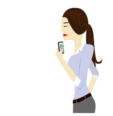 A woman texting with a smartphone, upper body, vector image