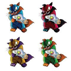 Set of 4 cats supervillains