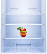 canvas print picture - Apples and orange fruit in empty refrigerator.