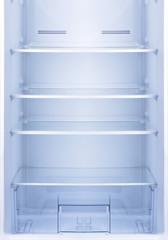 Empty open fridge.