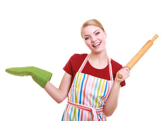 Housewife kitchen apron holds rolling pin