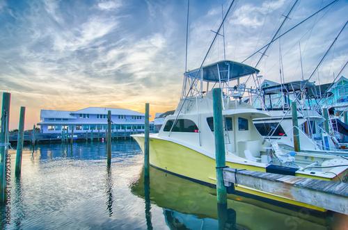 Leinwandbild Motiv View of Sportfishing boats at Marina