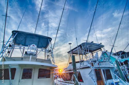 Leinwanddruck Bild View of Sportfishing boats at Marina