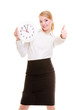 Portrait businesswoman showing clock and thumb up. Time.