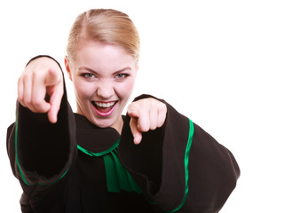 Happy female lawyer wearing classic polish black green gown