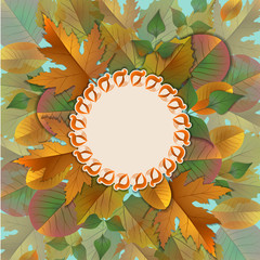 Vector vintage frame with autumn leaves