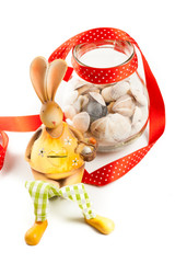 bunny with jar of clams