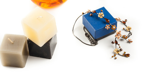 necklace perfume and candle