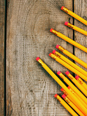 Back to school. Pencils. Wooden background.