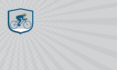 Business card Cyclist Riding Mountain Bike Shield Retro