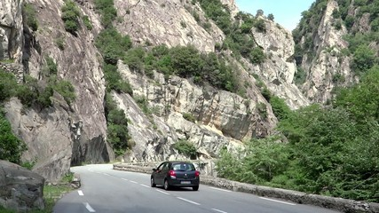traveling on a mountain road