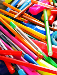 The big heap of school accessories.