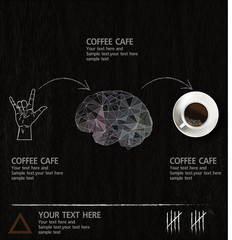 The  idea diagram cup of coffee vintage wood background