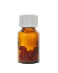 Pills in bottle on white background