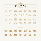 Fototapety Set of crown line and bold icons