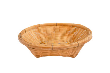Empty wooden fruit basket on white background