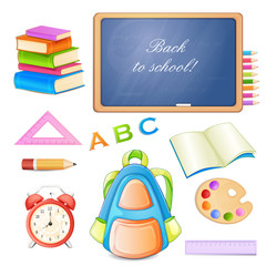 School elements isolated on white background.