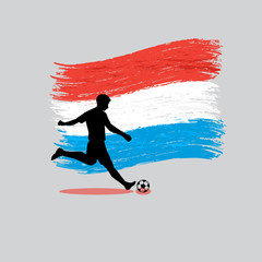Soccer Player action with Grand Duchy of Luxembourg flag on back