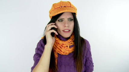 Woman angry on the phone slow motion