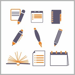 Icons of notepads and pencils