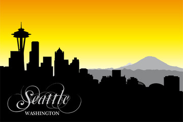 Seattle city, silhouette