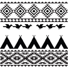 American indian ethnic geometric seamless pattern