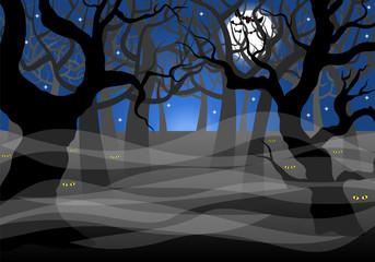 dunkler gespenstischer Wald bei Vollmond