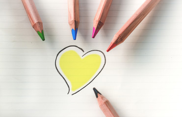 Color your heart - yellow