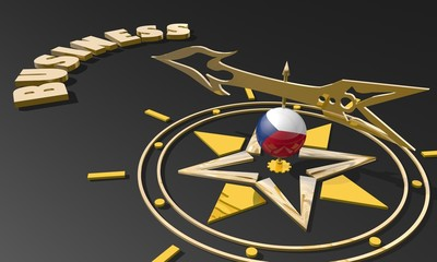 golden compass with czech flag pointing word business