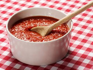 Bowl of homemade fresh tomato puree