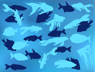 background from blue fishes illustration