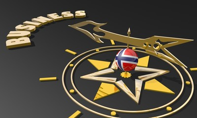 golden compass with norway flag pointing word business
