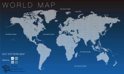World Map #Vector Illustration, White Dot Pattern