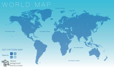 World Map #Vector Illustration, Blue Dot Pattern