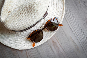 Straw hat and sunglasses
