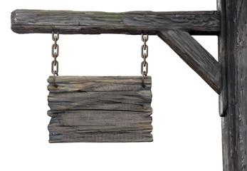 old wooden medieval tavern signboard
