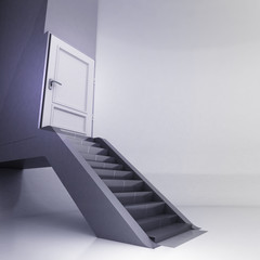 escalator stairs with closed door in conceptual space