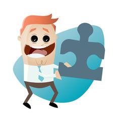 business mann puzzle partnerschaft cartoon