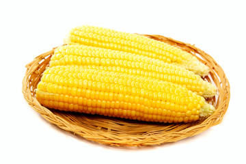 Corn on the cob in a basket.