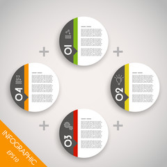 four colorful infographic rings