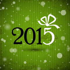 green new year 2015 with ribbon