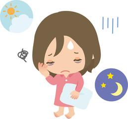 不眠に悩む若い女性