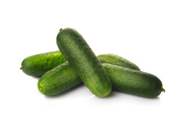 Fresh ripe green cucumbers