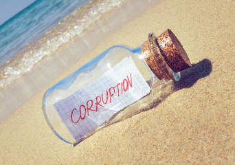 Creative corruption concept. Message in bottle with text