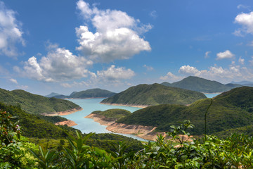 Reservoir with blue sky background in Sai Kung