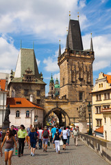 Prague.The Vltava river.Charles bridge.