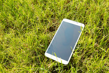 White smartphone with isolated screen on grass background
